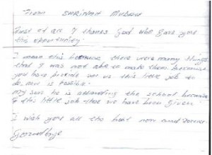 A letter from Sarinah Mudau written by her son