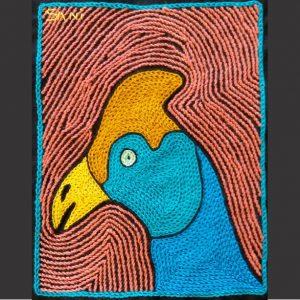 Guinea fowl head turq L