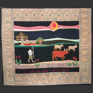 Boy leads cattle Quilted